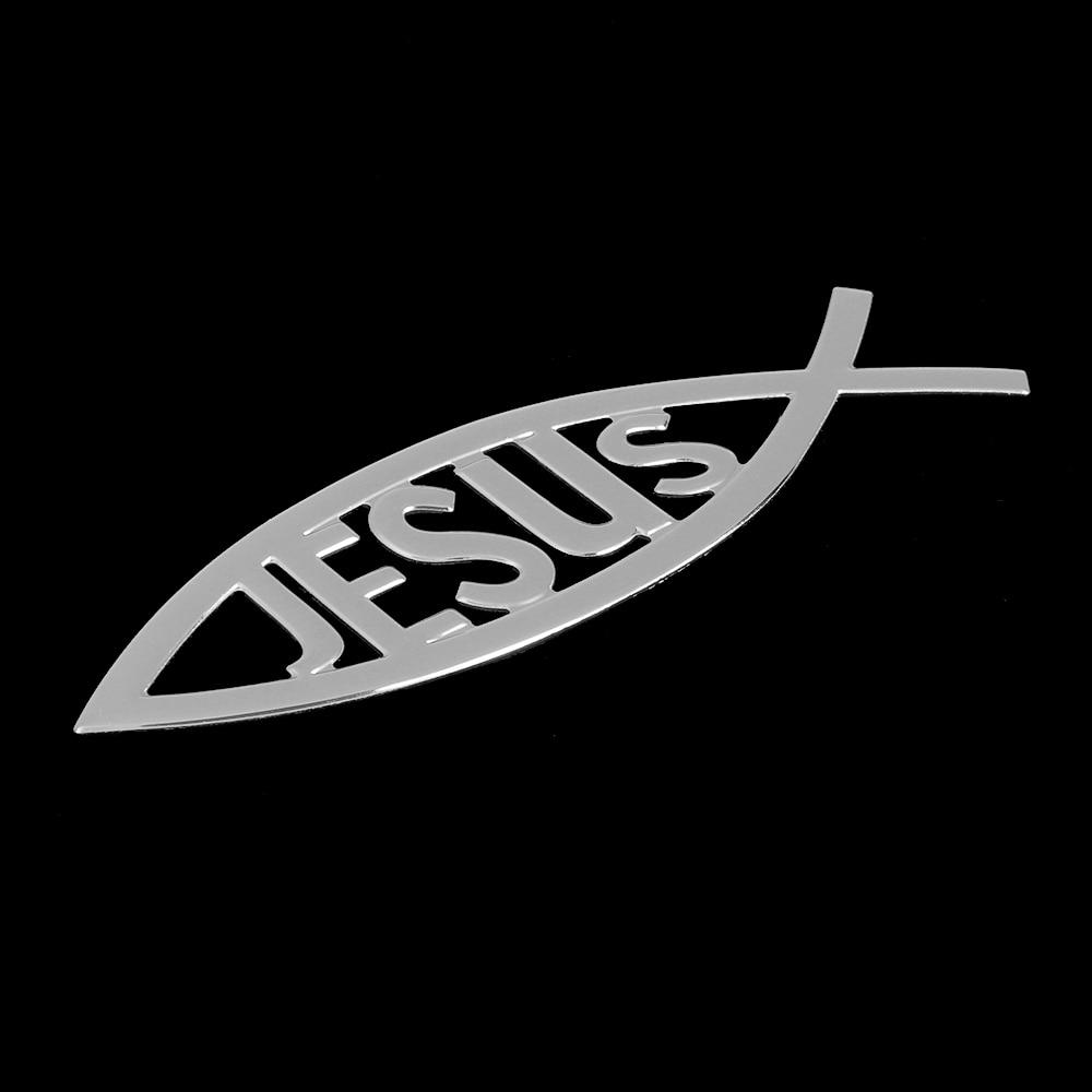 1pc New 3d Christian Jesus Fish Symbol Logo Car Emblem Badge Sticker