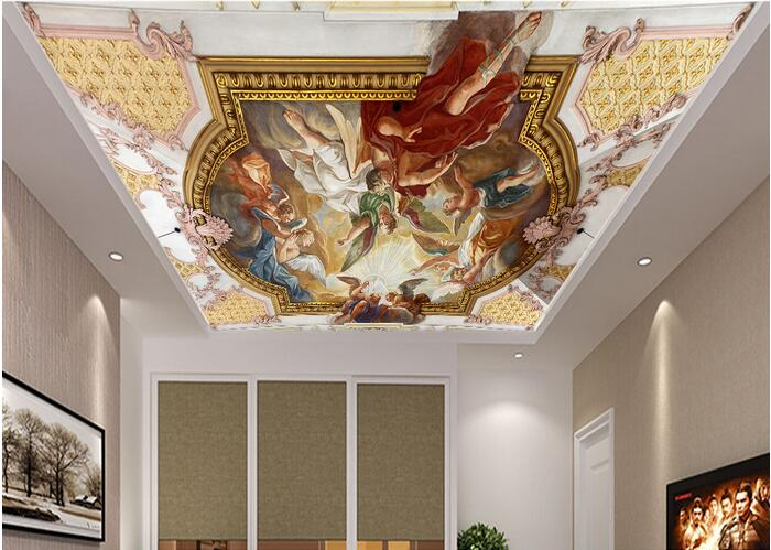 3d wallpaper custom mural non-woven 3d room wallpaper European angel party ceiling mural paintings photo 3d wall mural wallpaper 3d room wallpaper custom mural non woven 3 d european angel figure looking down ceiling mural photo wallpaper for walls 3d