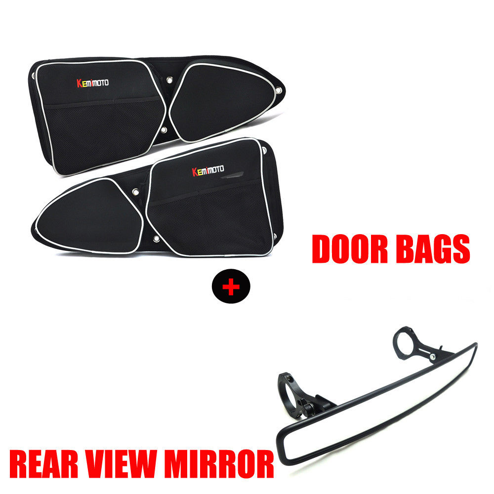 KEMIMOTO UTV 1 75 Clamp Wide Centre Rearview Mirror Side Door Storage Bag Knee Pad for