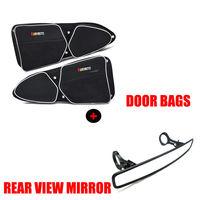 KEMIMOTO UTV 1.75 Clamp Wide Centre Rearview Mirror + Side Door Storage Bag Knee Pad for Polaris RZR XP 1000 900 S900 1000