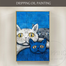 Wall Art Decor Painting Funny Fat Cats Oil Hand-painted Modern Animal Cat for