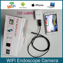 Wi-fi Камера-Эндоскоп HT5W 9 мм длина 5 М Кабель Змея Труба инспекции HD720 Камера Android Iphone Смартфон Поддержка USB Эндоскоп