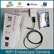 Wifi Endoscopio Cámara HT5W 9mm len 5 M Cable Serpiente inspección de La Pipa de La Cámara HD720 Iphone Android Teléfono Inteligente de Apoyo Endoscopio USB