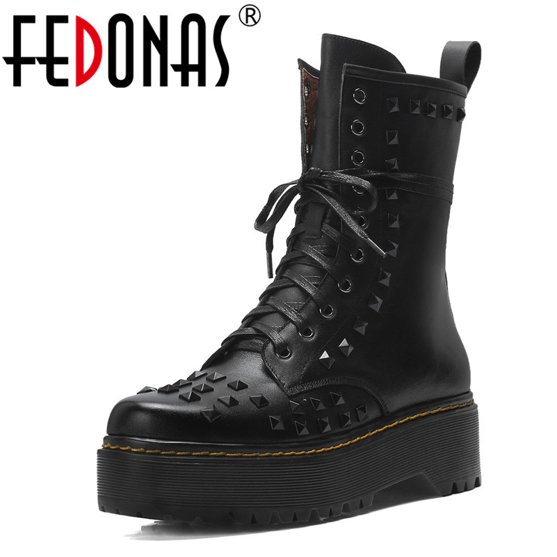 FEDONAS Punk Genuine Leather Mid-calf Boots Women Thick High Heel Boots Sexy Women Platforms Martin Boots Autumn Winter Shoes fedonas lace up boots 2019 fashion thick heel mid calf boots women high heels autumn winter shoes woman platforms boots