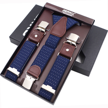 New Mans Suspenders 3 Clips Leather Braces Casual Suspensorios Trousers Strap 3.5*120cm Gift For Dad High Quality Tirantes
