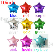 HOT 20pcs/lot 10inch Star balloons 10 colorful Five-Point star foil ballon For Wedding Birthday Party supplies