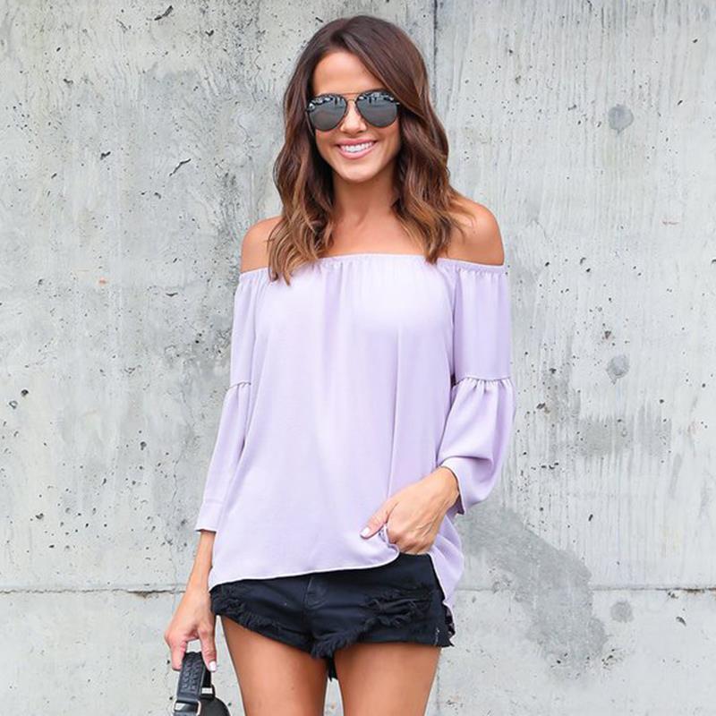 Blouses Women Slash Neck Off Shoulder Tops Long Sleeve Casual Blouses Shirts Blusas Plus Size WS946M