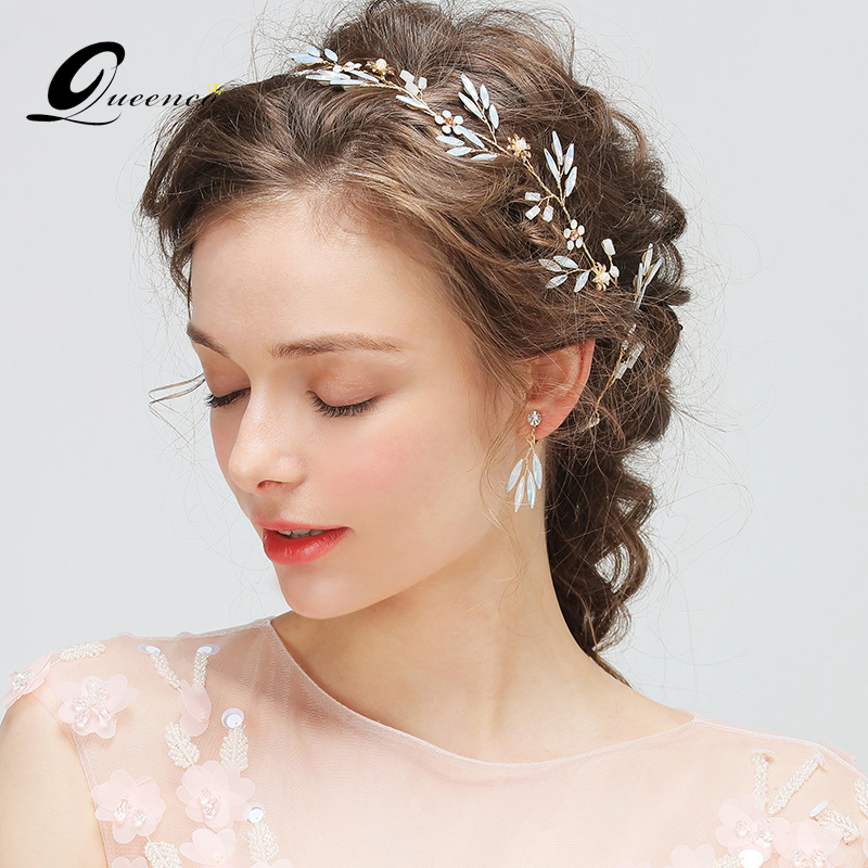 Us 7 48 53 Off Luxury Headband With Earrings Tiara Bridal Hair Accessories Crystal Wedding Headband Bridal Headpiece Pearl Hair Veil In Hair Jewelry