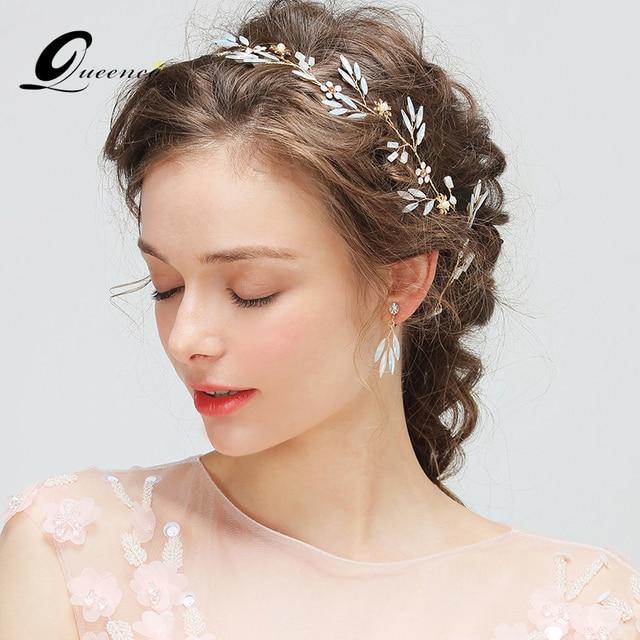 luxury headband with earrings tiara bridal hair accessories crystal wedding headband bridal headpiece pearl hair veil