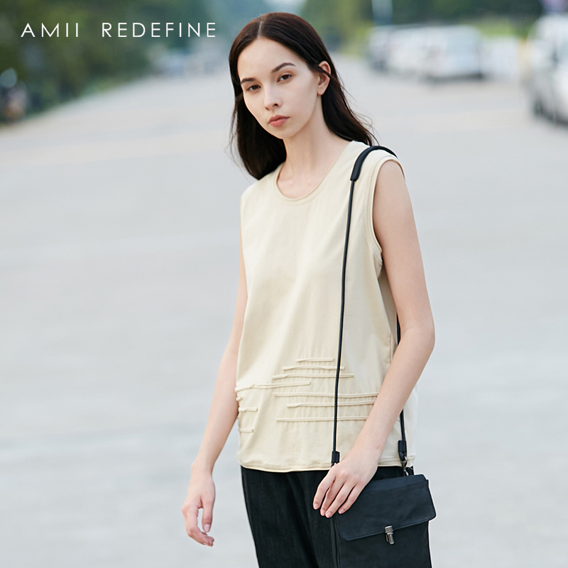 AMII REDEFINE Crop Tank Women Summer 2018 Causal Soild O-neck Striped Linen Cotton Female Tank Tops