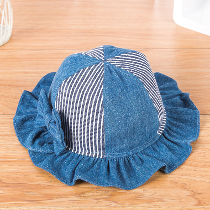 Kid Birthday Gift Girl Denim Fisherman Hat Children Bow Striped Patch Bucket Hats 48cm 50cm 52cm In Caps From Mother Kids On Aliexpress