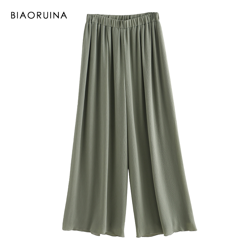 BIAORUINA 3 Colors Women Casual Chiffon   Wide     Leg     Pant   One Size Female Loose Pleated   Pant   Ladies Elegant   Pant   Trousers
