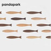 Pandapark магниты на холодильник с изображением животных форма рыбы твердый черный орех Вишня Деревянная магнитная палочка лог размещение сообщения Творческий липкий PPM037