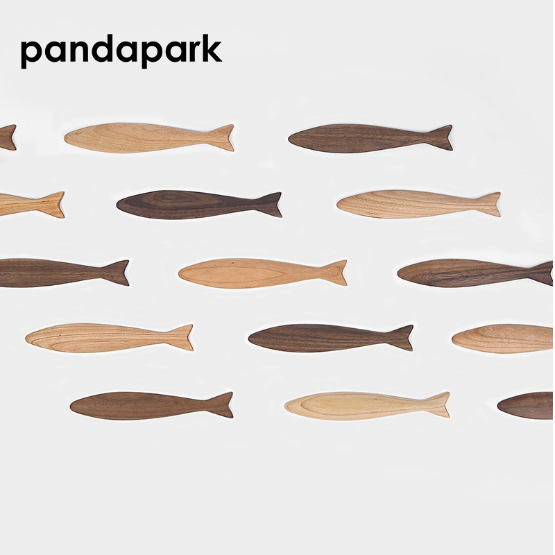 Buy Pandapark Animal Fridge Magnets Fish Shape Solid Black Walnut Cherry Wood Magnetic Stick Log Message Post Creative Sticky PPM037 for only 11.27 USD