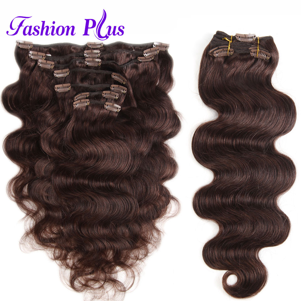 Fashion Plus Clip In Human Hair Extensions In Clip Machine Made Remy Clip In Hair Extensions Full Head Body Wave 7Pcs/Set 120g(China)