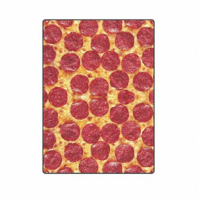 Custom Printed With Funny King Pizza Velvet Plush Throw Blanket Super Soft And Cozy Fleece