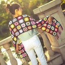 Luxury Brand Handmade Crochet Tassel Scarf and wraps women 200*26cm Big  flower autumn winter scarves poncho