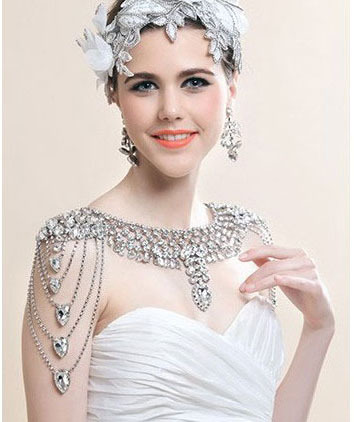 Rhinestone Crystal Bridal shoulder chain wedding jewelry Pary necklace petal rhinestone chain fringe necklace