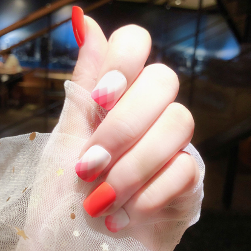 24pcs gradient red press nails