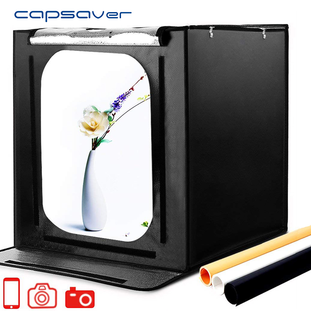 Capsaver F60 Portable LED Studio Photo Boîte Lightbox 60 cm Pliage Softbox 5500 k CRI95 LED Lumière Tente De Table Photographie studio