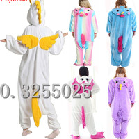 MengShuFen Hot Sale Unisex Flannel Couples Animal Pajamas One Piece Cartoon Cosplay Pajama Costume Adult Unicorn