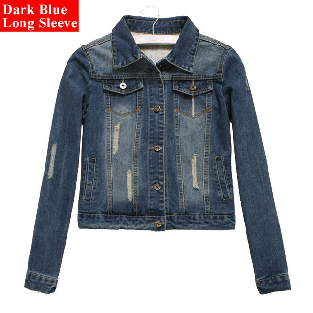cf3a3d23cd1 Women Plus Size Cropped Jean Jacket Light Blue Bomber Short Denim Jackets  Jaqueta Casual Ripped Jeans ...