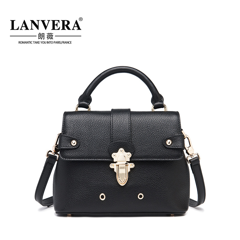Women's Handbags Genuine Leather Small Bag Cover Lock Sweet Ladies Single Crossbody Messenger Bags High Quality Female Bags women shoulder bags leather handbags shell crossbody bag brand design small single messenger bolsa tote sweet fashion style