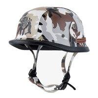 Adult Leather Harley Moto Helmets For Motorcycle Retro Half Cruise Helmet Prince Motorbike GERMAN Vintage Riding Helmet