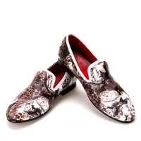 2017 New Style Leopard And Flower Printing Men S Loafers Comfortable Red Cotton Insole Men Fashion