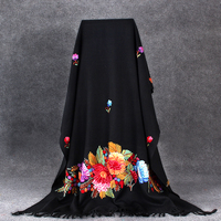 Women Black Floral Shawls Scarf Noble Winter Warm Cape India Handmade Embroidery Wrap Pashmina Wool Soft Mantilla Long 70x210cm