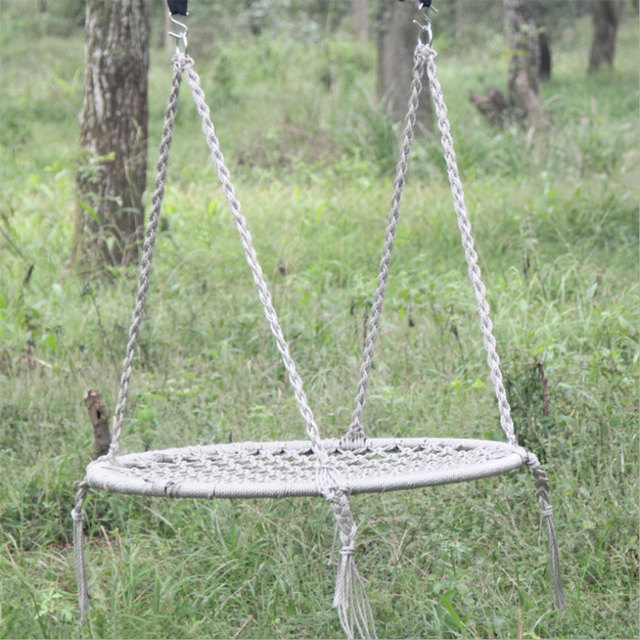 Outdoor Leisure Circular Network Swing Chair Nylon Rope Swing Sleeping  Parachute Hammock Chair Garden Swing Hanging