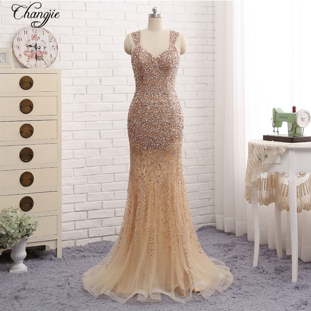 26dc8f18fd New Style 2018 Spring Prom Dresses 2017 Sweetheart Cap Sleeve Floor Length  Crystal Beads Tulle Mermaid Long Evening Dress