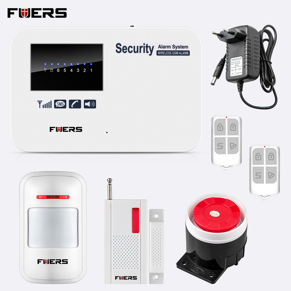 English Russian Spanish Version Wireless Home Security GSM Alarm System IOS Android APP Control SMS Burglar