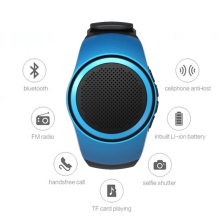 Smart Wristband With Anti-Lost Alarm Mini Bluetooth Speaker Support TF Card FM Radio