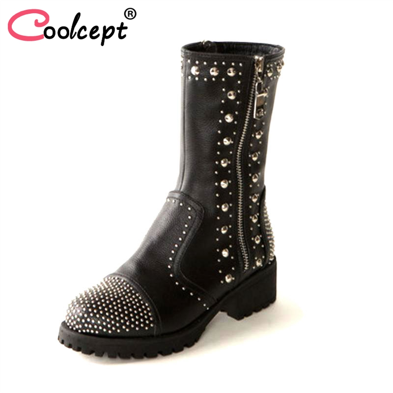 Coolcept Size 34-39 Ladies Real Leather Motorcycle Boots Women Rivets Side Zip Shoes Women Sexy Mid Calf Winter Botas Footwear