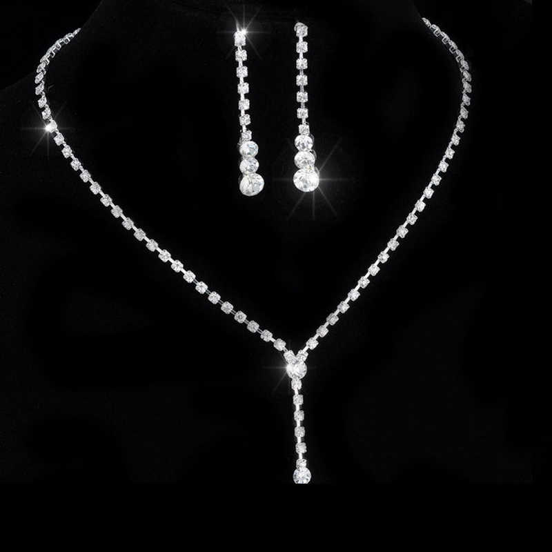 Rinhoo Crystal Tennis Drop Necklace Set 925 Silver Jewelry Bride wedding Jewelry sets For women party Elegant gift