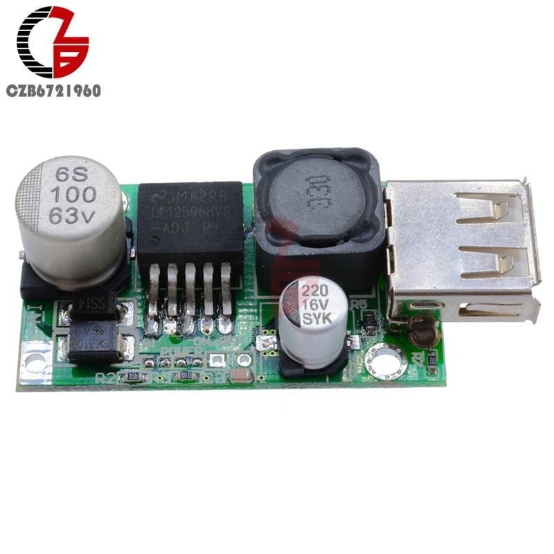Dual USB Charger DC Buck Converter 12V//24V//36V to 5V 3A Step down Voltage Meter