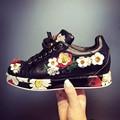 2017 Nueva moda bordado de flores de cristal mujeres plataforma pisos sneaker aumento del cuero genuino de lujo zapatos vulcanizados 56