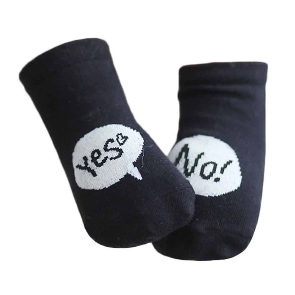 Cute  Yes No!  letter Anti-slip Baby Socks Infant Cotton For Girls Newborns Kids Black White Colors