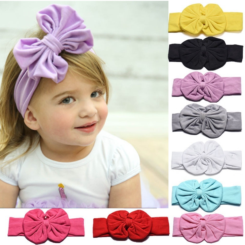 Girls Baby Toddler Hairband Bowknot Cotton Headwrap Turban Flower Headband