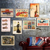 American Retro Metal Painting Hanging Wall Decoration Bar Restaurant Wall Hanging Living Room Wall Hanging 2 PIECES