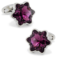 SPARTA purple snowflake crystal cufflinks Plated with White Gold men's Cuff Links + Free Shipping !!! DM
