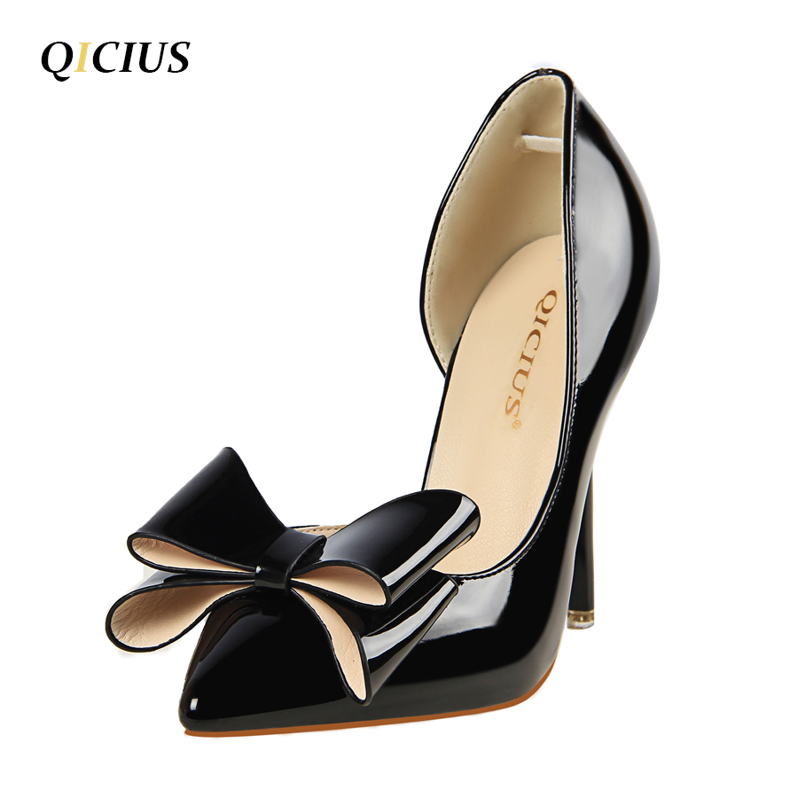 QICIUS New Fashion Women Pumps Thin High Heels Women Shoes Hollow Pointed Toes Spring Sweet High Heels Pink Black Q0012 lakeshi new fashion pumps thin sexy high heeled shoes woman pointed suede hollow out bowknot sweet elegant women shoes