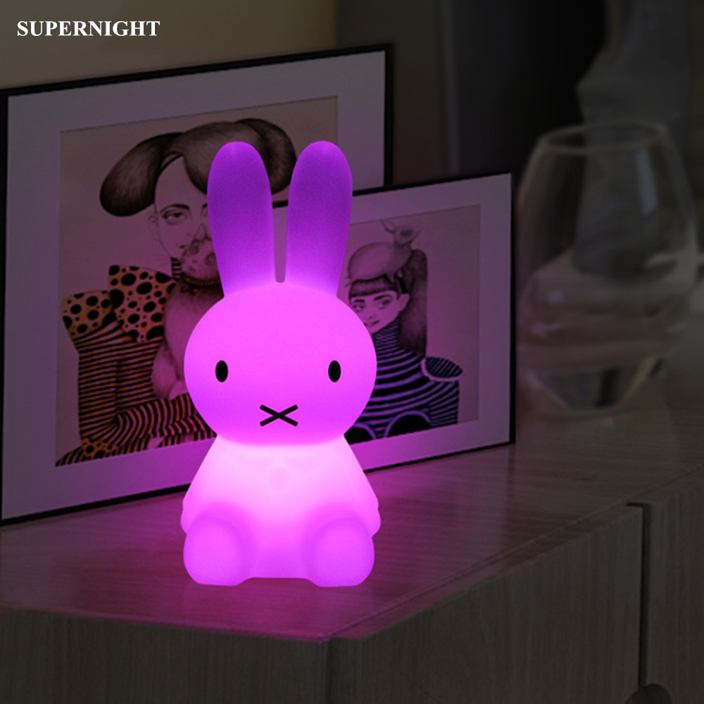 SuperNight Cute Rabbit RGB LED Night Light Dimmable Rechargeable Wireless Remote Bedside Table Lamp for Children Baby Kids Gift недорого