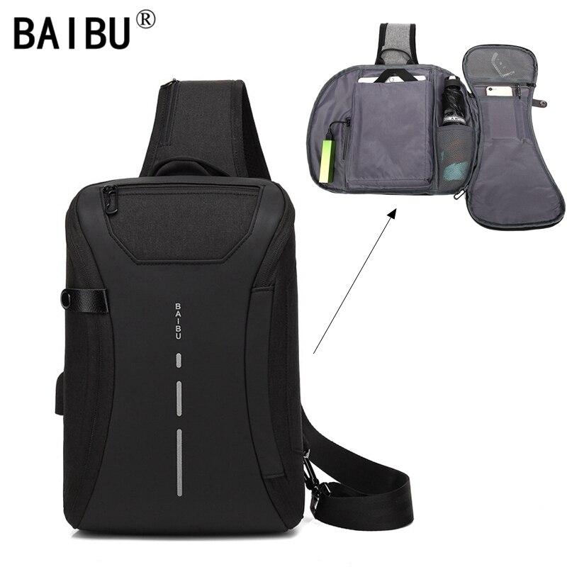 BAIBU multifunción paquete de viaje casuales de los hombres de hombro, Crossbody bolsa de carga USB bolsa de pecho repelente al agua ipad bolsa de mensajero