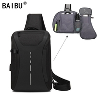 BAIBU Multifunction travel Pack Men Casual Shoulder Crossbody   Bag   USB Charging Chest   Bag   Water Repellent ipad Messenger   Bag
