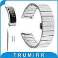 Faixa de relógio 16mm pino de liberação rápida para huawei talkband b3 das mulheres cinta butterfly fivela pulseira de aço inoxidável preto prata
