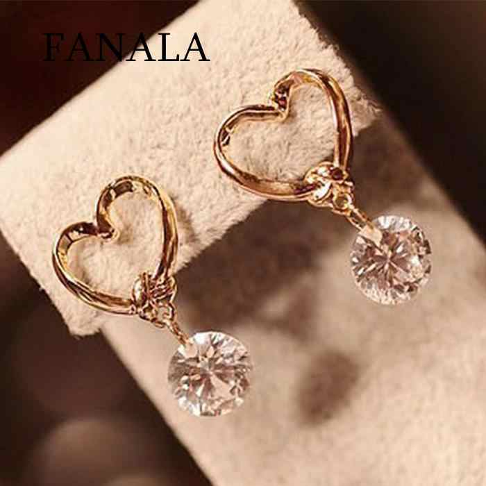 Earrings Fashion Hollow Love Heart Earrings Cubic Zirconia Drop Women Jewelry
