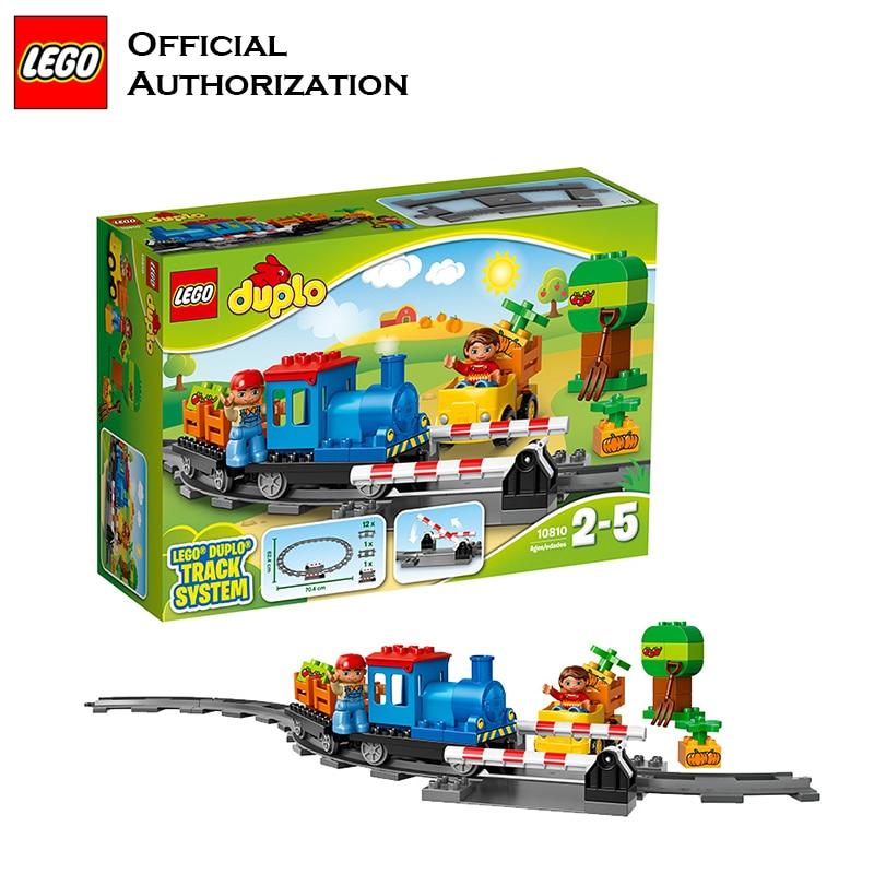 Original Duplo Lego Building Blocks Track System Control Rail Transport Little Train For kids Christmax Gift 10810