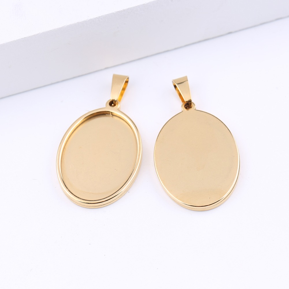 reidgaller 5pcs gold plated stainless steel cabochon base 18x25mm blank bezel pendant setting trays diy necklace findings
